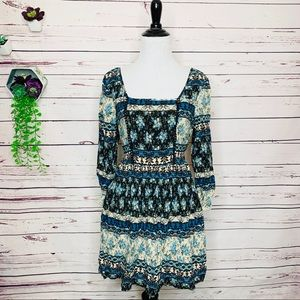 Band of Gypsies Blue Boho Floral & Paisley Dress M